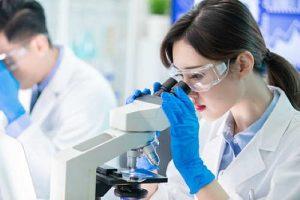 Die Asbestanalyse wird im Labor unter dem Mikroskop durchgeführt.