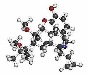 Ein Buprenorphin-Molekül besteht aus Wasserstoff, Kohlenstoff, Sauerstoff und Stickstoff.